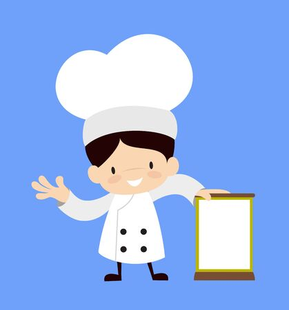 Cute Cartoon Chef - Standing with a Blank Board Stock Illustratie