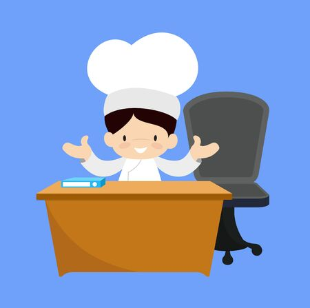 Cute Cartoon Chef - Talking with Hand Gesture Stock Illustratie
