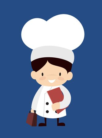 Cute Cartoon Chef - Standing with File and Briefcase