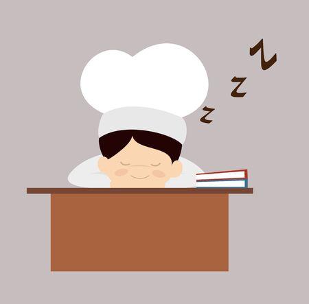 Cute Cartoon Chef - Sleeping on Office Desk Archivio Fotografico - 133102194