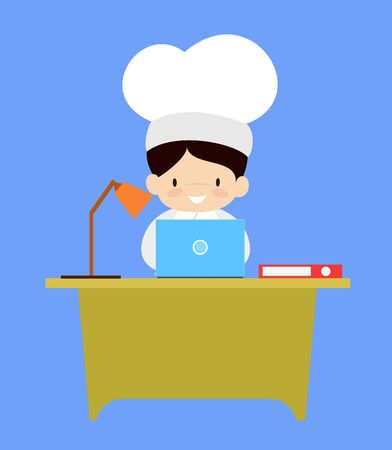 Cute Cartoon Chef - Working on Laptop Banque d'images - 133155186