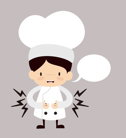 Cute Cartoon Chef - Feeling Pain in Stomach with Speech Bubble