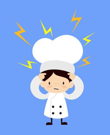 Cute Cartoon Chef - with Worried Face