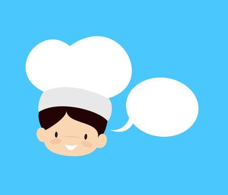 Cute Cartoon Chef - with Speech Bubble Stock Illustratie