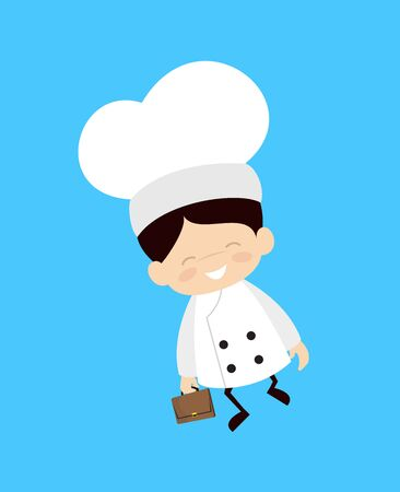 Cute Cartoon Chef - Cheerful Face with Holding Suitcase Stock Illustratie