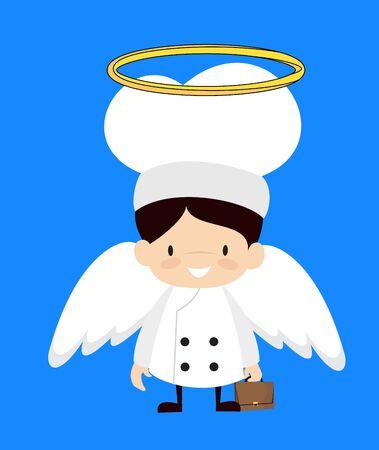 Cute Cartoon Chef - in Angel Costume Vector