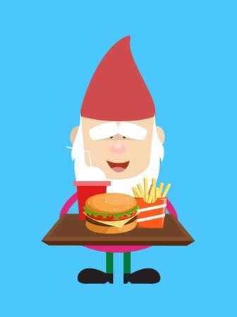 Cute Cartoon Chef - Presenting Fast Foods