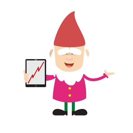 Cute Cartoon Chef - Presenting Profit Growing Graph on Tablet 向量圖像