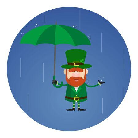Cute Leprechaun Cartoon Standing in Rain with Umbrella