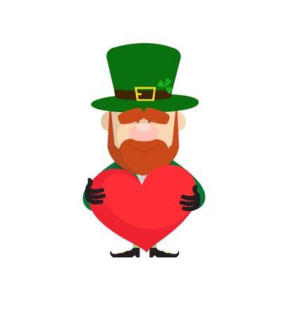 Cute Leprechaun Cartoon - Standing with a Heart