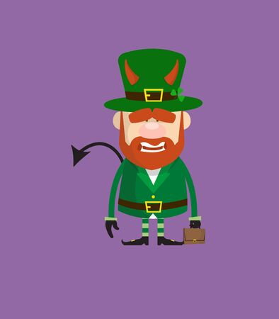 Cute Leprechaun Cartoon - Standing in Angry Mood