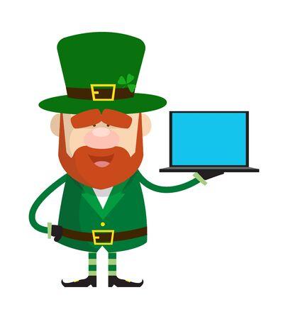 Cute Leprechaun Cartoon - Presenting a Laptop Vector