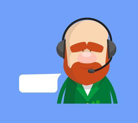 Cute Leprechaun Cartoon - Providing a Customer Service
