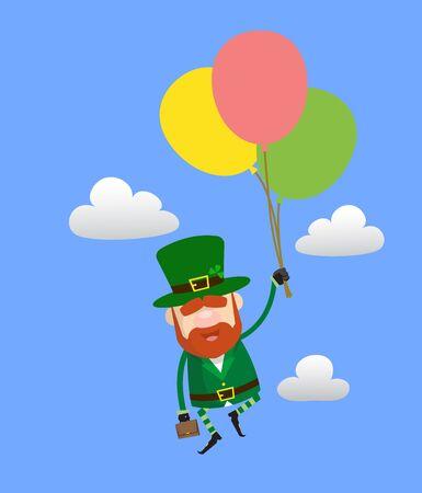 Cute Leprechaun Cartoon - Flying with Balloons