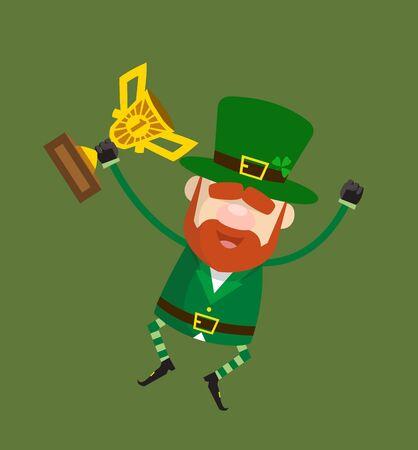 Cute Leprechaun Cartoon - Jumping with Trophy