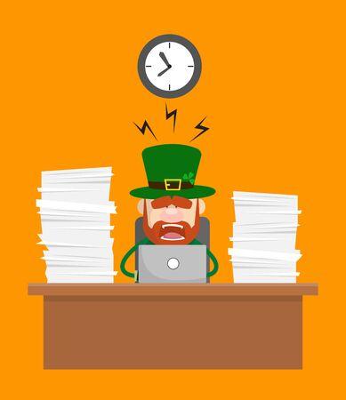 Cute Leprechaun Cartoon - Frustrated from Office Work