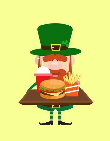 Cute Leprechaun Cartoon - Presenting Fast Foods