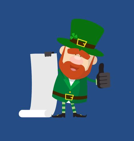 Cute Leprechaun Cartoon - Holding a Paper Scroll and Showing Thumbs Up