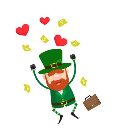 Cute Leprechaun Cartoon - Jumping with Hearts and Money Ilustrace