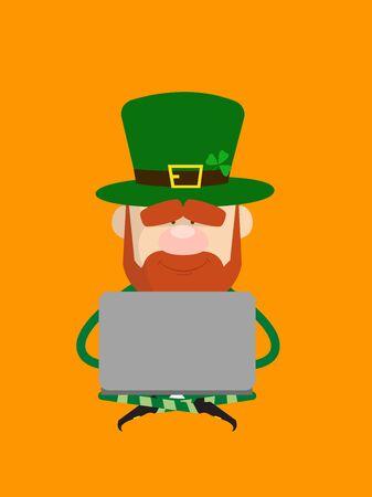 Cute Leprechaun Cartoon - Sitting and Working on Laptop Ilustrace