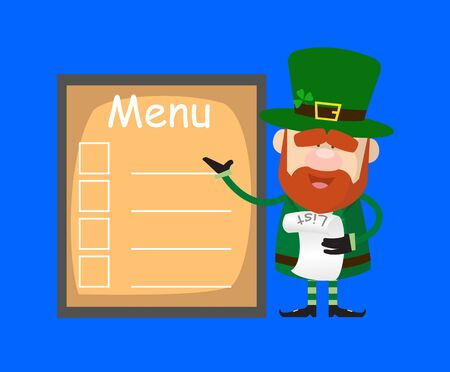 Cute Leprechaun Cartoon - Presenting Menu List