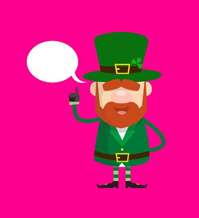 Cute Leprechaun Cartoon - Smiling and Pointing to Speech Bubble Vettoriali