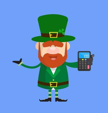 Cute Leprechaun Cartoon - Presenting a Calculator