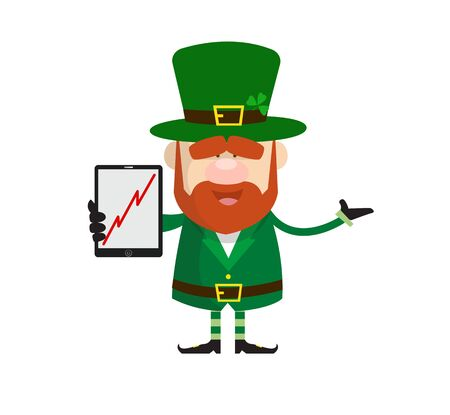 Cute Leprechaun Cartoon - Presenting Profit Growing Graph on Tablet