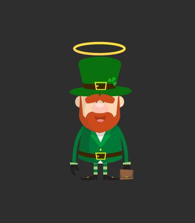 Cute Leprechaun Cartoon - Standing and Smiling Stock Illustratie