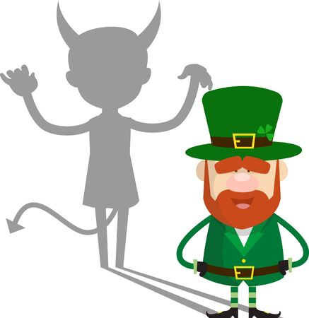 Cute Leprechaun Cartoon - Devil person Standing with Fake Smile 向量圖像