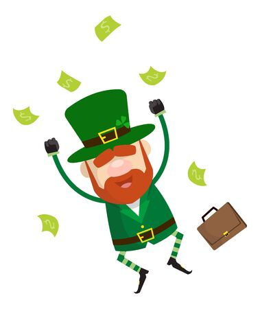 Cute Leprechaun Cartoon - Jumping in Excitement with money Ilustrace