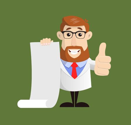 Doctor- Holding a Paper Scroll and Showing Thumbs Up