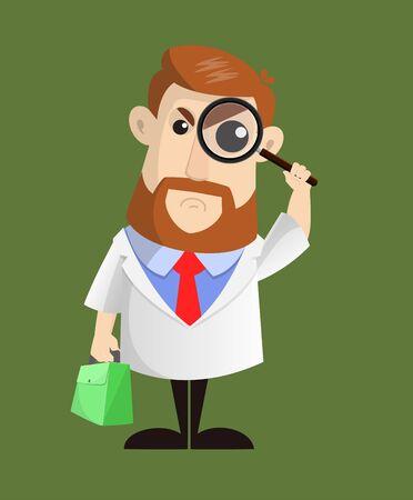 Arzt - Zusehen mit Lupe Vektorgrafik