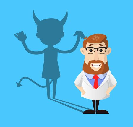 Doctor - Devil person Standing with Fake Smile  イラスト・ベクター素材