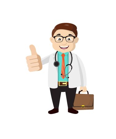 Dermatologist Doctor - Showing a Thumb Up Vector Illustration