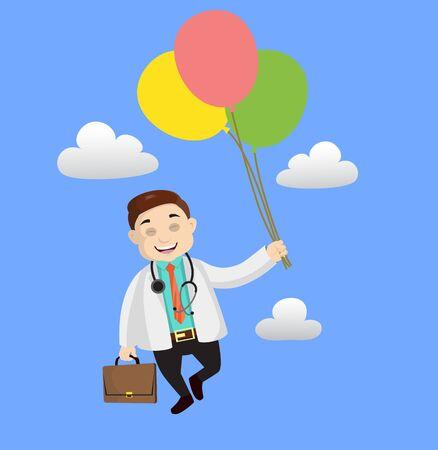 Dermatologist Doctor - Flying with Balloons Illusztráció