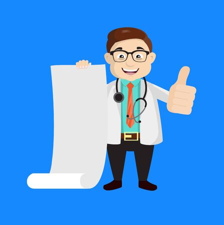 Dermatologist Doctor - Holding a Paper Scroll and Showing Thumbs Up