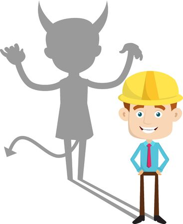 Engineer Builder Architect - Devil person Standing with Fake Smile