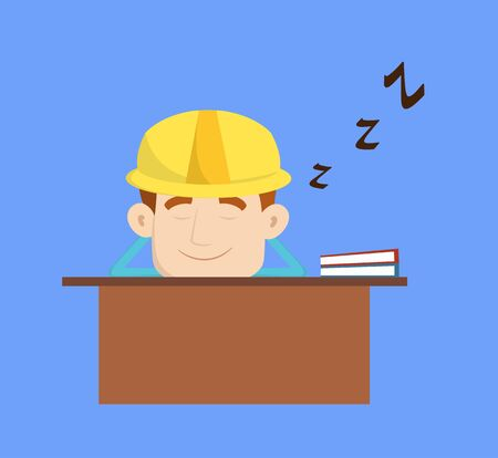 Engineer Builder Architect - Sleeping on Office Desk Illustration