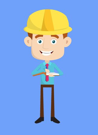 Engineer Builder Architect - Preparing Report in Happy Mood