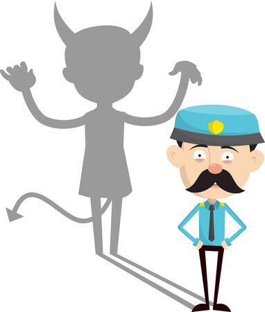 Funny Policeman Cop - Devil person Standing with Fake Smile 版權商用圖片 - 133111782