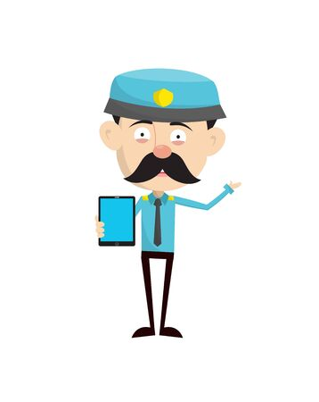 Funny Policeman Cop - Presenting a Tablet with blank screen illustration Stock Vector - 133111797