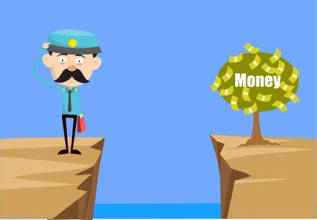 Funny Policeman Cop - Thinking How to Reach Close to Money Plant Ilustrace