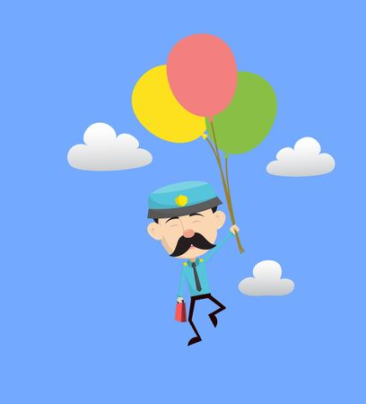 Funny Policeman Cop - Flying with Balloons