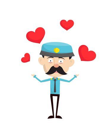 Funny Policeman Cop - Presenting Hearts Standard-Bild - 133156112