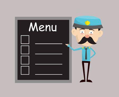 Funny Policeman Cop - Presenting Menu List