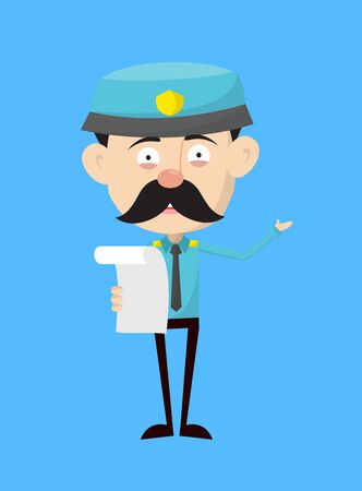 Funny Policeman Cop - Holding a Paper and Announcing