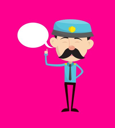 Funny Policeman Cop - Smiling and Pointing to Speech Bubble