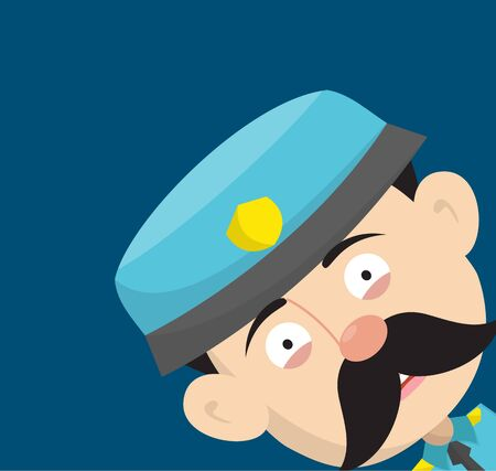 Funny Policeman Cop - Empty Space with Head in Corner