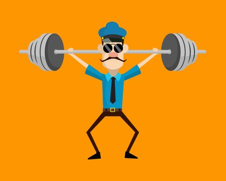 Funny Policeman Cop - Doing Weight Lifting